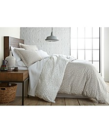 Geometric Maze Printed Reversible Duvet Cover and Sham Set, Full/Queen