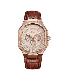 JBW Men's Orion Diamond (1/8 ct.t.w.) 18K Rose Gold Plated Stainless Steel Watch