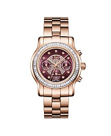 JBW Women's Laurel Diamond (1/10 ct.t.w.) 18K Rose Gold Plated Stainless Steel Watch