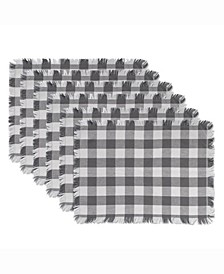Gray Heavyweight Check Fringed Placemat Set of 6
