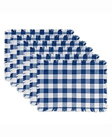 Navy Heavyweight Check Fringed Placemat Set of 6