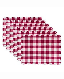 Wine Heavyweight Check Fringed Placemat Set of 6