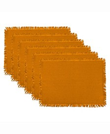 Solid Pumpkin Spice Heavyweight Fringed Placemat Set of 6