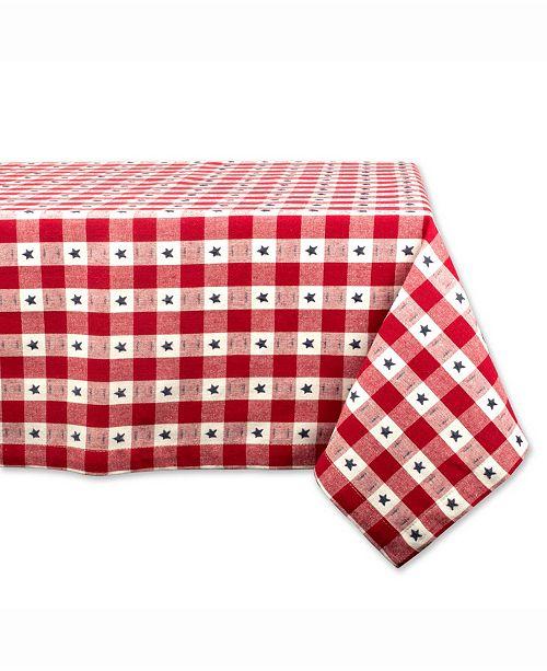 "Design Import Star Check Table cloth 60"" X 84"""