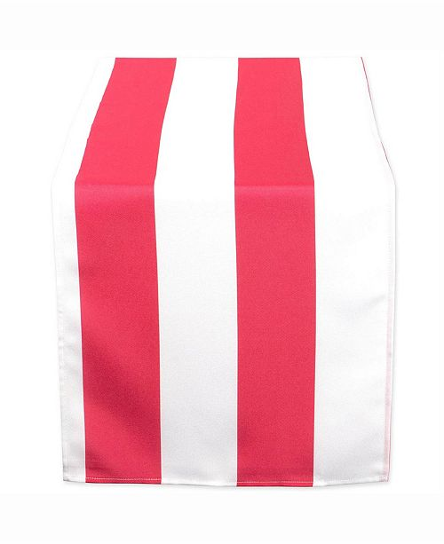 """Design Imports Coral Cabana Stripe Outdoor Table Runner 14"""" X 72"""""""