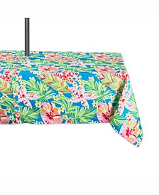 "Summer Floral Outdoor Table cloth with Zipper 60"" X 84"""
