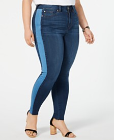 Celebrity Pink Trendy Plus Size Contrast-Stripe Skinny Ankle Jeans