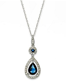 Sapphire (1-1/3 ct. t.w.) and Diamond (1/4 ct. t.w.) Drop Pendant Necklace Set in 14k White Gold (Also Available in Emerald and Ruby)