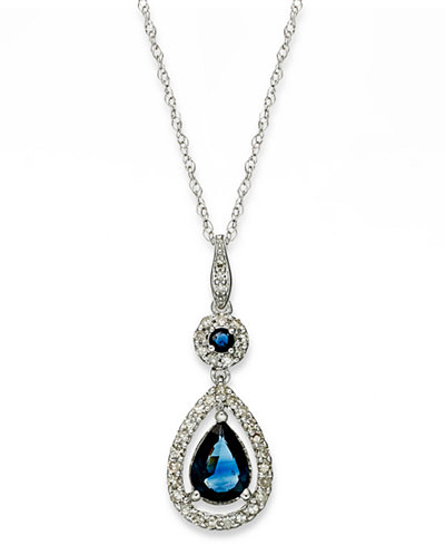 14k White Gold Necklace, Sapphire (1-1/3 ct. t.w.) and Diamond (1/4 ct. t.w.) Drop Pendant