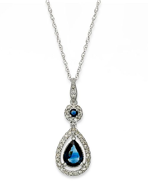 Macy's 14k White Gold Necklace, Sapphire (1-1/3 ct. t.w.) and Diamond (1/4 ct. t.w.) Drop Pendant Also Available in Emerald)