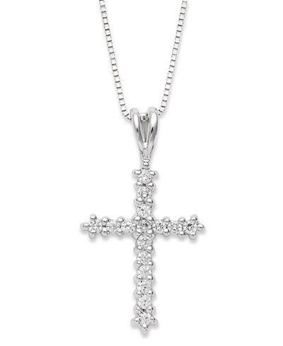 Diamond Cross Pendant Necklace in 14k White Gold (1/4 ct. t.w.)