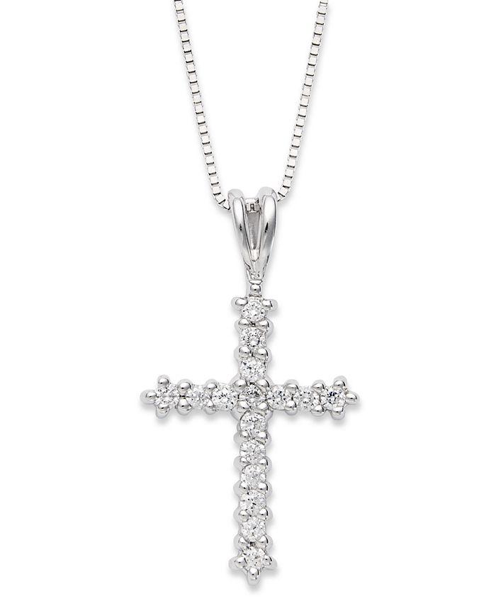 Macy's - Diamond Cross Pendant Necklace in 14k White Gold (1/4 ct. t.w.)
