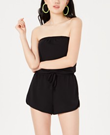 Material Girl Juniors' Strapless French Terry Romper, Created for Macy's