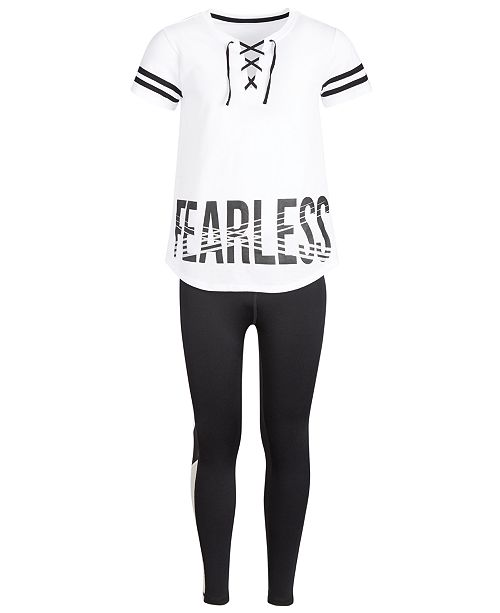 Ideology Big Girls Fearless Lace-Up T-Shirt & Colorblocked Leggings, Created for Macy's