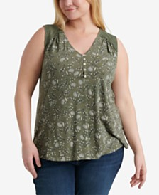 Lucky Brand Plus Size Appliqué Sleeveless Top