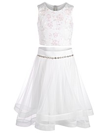 Big Girls 2-Pc. Embroidered Horsehair Top & Skirt Set
