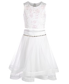 Beautees Big Girls 2-Pc. Embroidered Horsehair Top & Skirt Set