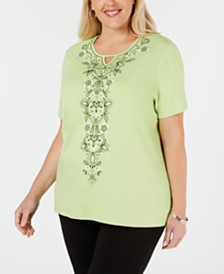 Alfred Dunner Plus Size Cayman Islands Embroidered Studded Top