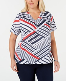 Alfred Dunner Plus Size In The Navy Printed Embellished T-Shirt