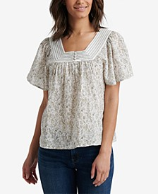 Floral Square-Neck Flutter-Sleeve Cotton Top