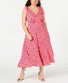 Betsey Johnson Trendy Plus Size Floral Midi Dress