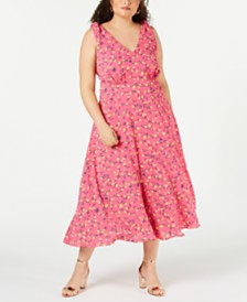 Betsey Johnson Trendy Plus Size Floral Midi Dress