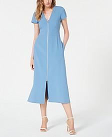 Front-Zip Midi Dress