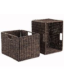 Winsome Granville Foldable 2-Pc Tall Baskets Corn Husk