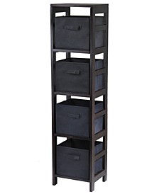 Capri 4-Section N Storage Shelf with 4 Foldable Fabric Baskets