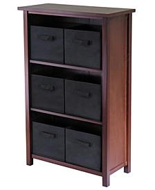 Verona 3-Section M Storage Shelf with 6 Foldable Black Color Fabric Baskets