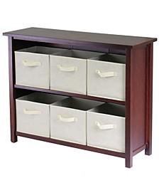 Verona 2-Section W Storage Shelf with 6 Foldable Beige Fabric Baskets