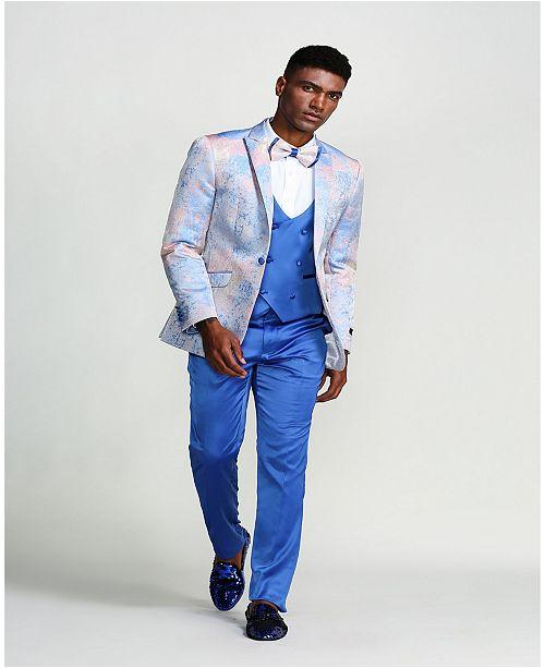 Tazzio Men's Print Design Peak Lapel Slim Fit Suit