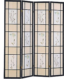 Aidan 4-Panel Folding Screen with Floral Motif
