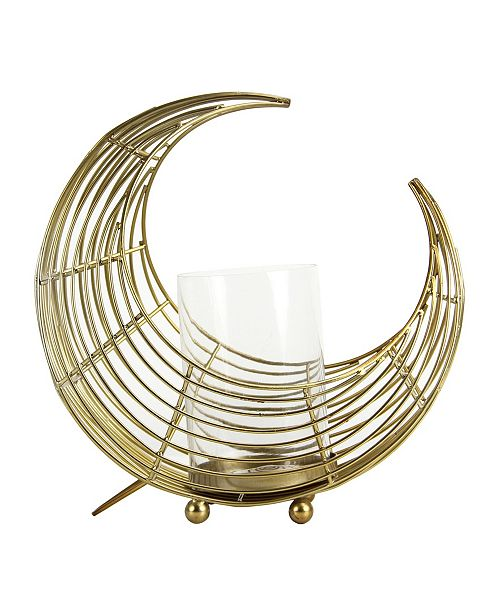 Brewster Home Fashions Eclipse Brass Moon Hurricane Candleholder