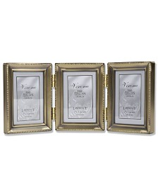 """Lawrence Frames Antique Gold Brass Hinged Triple Picture Frame - Beaded Edge Design - 2"""" x 3"""""""
