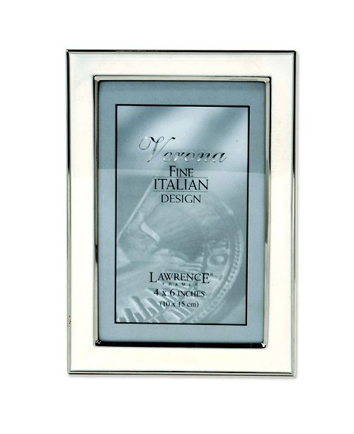 "Lawrence Frames Silver Plated Metal with White Enamel Picture Frame - 4"" x 6"""