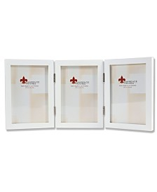 "Lawrence Frames Hinged Triple White Wood Picture Frame - Gallery Collection - 4"" x 6"""