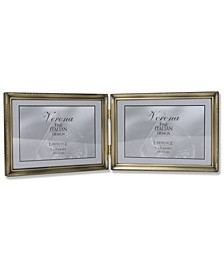 "Antique Gold Bead Hinged Double Picture Frame - 7"" x 5 """