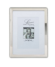 "Silver Metal Picture Frame with Delicate Outer Border Of Beads - 8"" x 10"""