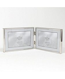 "Hinged Double Simply Silver Metal Picture Frame - 6"" x 4"""