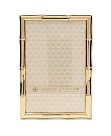 "Gold Metal Picture Frame with Bamboo Design - 4"" x 6"""