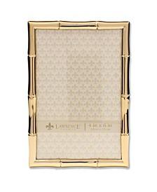 """Lawrence Frames Gold Metal Picture Frame with Bamboo Design - 4"""" x 6"""""""