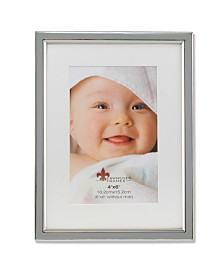 """Lawrence Frames Matted Gray Enamel and Silver Metal Picture Frame - 6""""x8"""" without Mat - 4"""" x 6"""""""