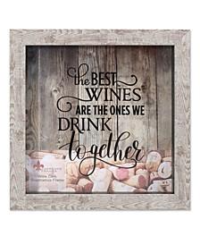 """Weathered Birch Shadow Box Wine Cork Holder - 10"""" x 10"""""""