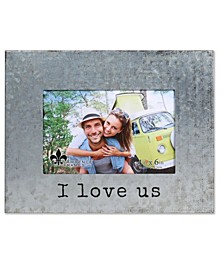 """Galvanized Metal Picture Frame - I Love Us - 4"""" x 6"""""""