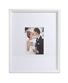 "Wide Border Matted Frame - Gallery White 11"" x 14"" - 5"" x 7"""