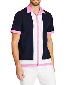 Tallia Men's Slim-Fit Performance Stretch Color Block Short Sleeve Camp Shirt