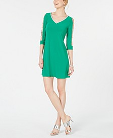 Petite Embellished Lattice-Sleeve Shift Dress