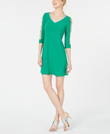 MSK Petite Embellished Lattice-Sleeve Shift Dress