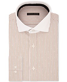 Men's Classic/Regular Fit Brown Stripe Dress Shirt